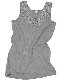 Damen Shirt, Unterhemd Gekämmte Baumwolle mit extra großer Spitze Ohne Seitennaht