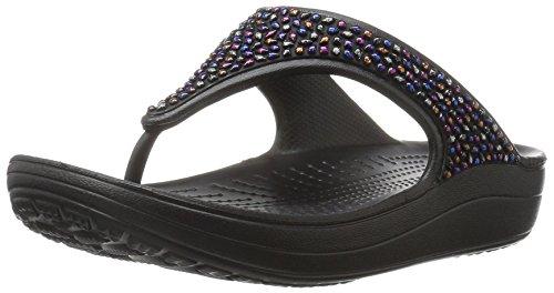 Crocs Damen Sloane Embellished Sandalen Flipflops, Verschiedene Farben (Schwarz / Mehrfarbig), 39/40 EU