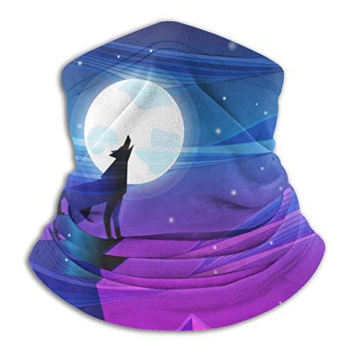 Bgejkos Paisaje Nocturno con Lobo Aullando a la Luna Fleece Calentador de Cuello Trampa de Calor Cuello a Prueba de Sol Polaina Tubo Pasamontañas elástico Suave H