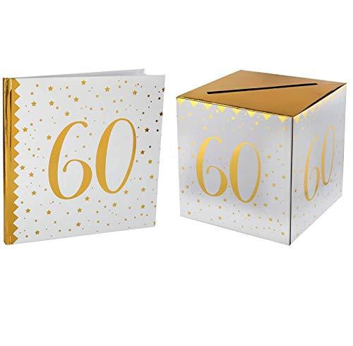 Santex 1 Pack urne et Livre d'or Anniversaire Or et Blanc 60ans