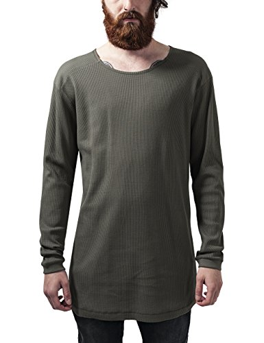 Urban Classics Herren T-Shirt Long Shaped Waffle L/S Tee, Grün (Olive 176), Large (Sleeve Thermal Long Tee)