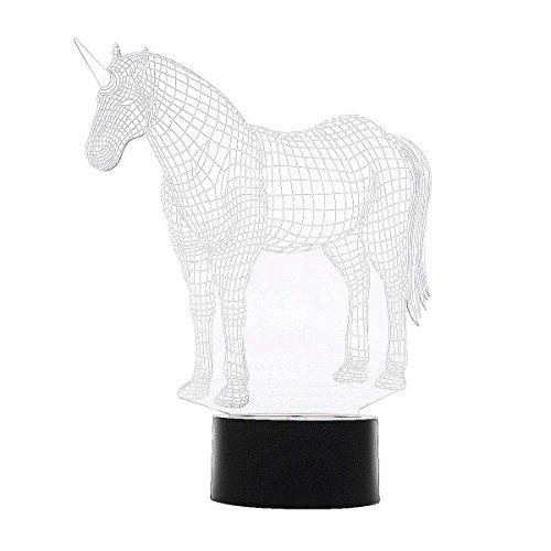 kivvo, lámpara de mesa de decoración para niños con diseño de unicornio en 3D, con LED que cambia de color (7 colores)
