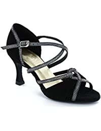 8a0ee6b33 MINITOO Women's Black Stylish Suede Leather Latin Salsa Ballroom Dance Shoes  7.5 M UK