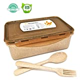 Bio Lunchbox mit Besteck | Neu 2019 | umweltfreundliche Bento Box aus Weizenstroh | Brotdose Auslaufsicher, Spülmaschinen- Mikrowellentauglich und BPA Frei | 1100ml