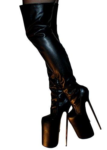Erogance 30cm Extrem Plateau High Heels Kunstleder Overknees, Bottes pour Femme Noir