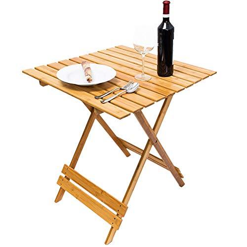 Bakaji tavolo pieghevole tavolino salvaspazio in legno di bamboo multiuso casa giardino campeggio dimensione 66 x 66 x 75 cm colore bamboo naturale