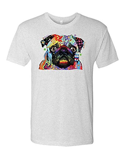 NEON Blacklight Pug Dog Canine pet Lover - Mens Cotton T-Shirt XL