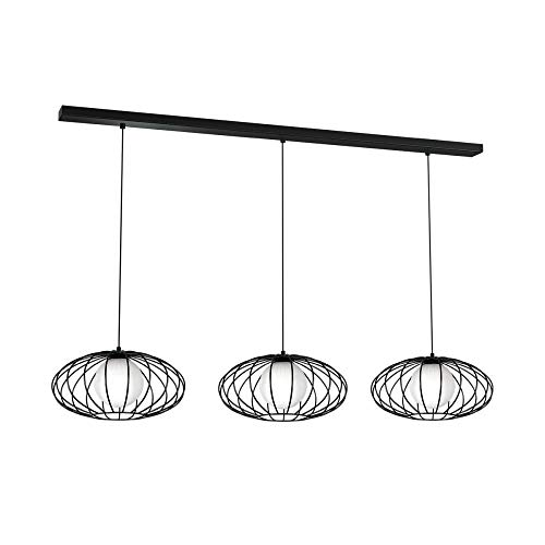 XXL Hängelampe Schwarz Weiß 120cm lang Modern Design Metall Glas Esstisch Küche Pendelleuchte