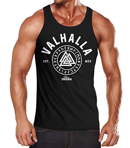 Neverless Herren Tank-Top Valhalla Runen Vikings Wikinger Muscle Shirt schwarz L (Tank Herren Top)