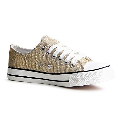 topschuhe24789Femme Sneaker Chaussures de sport Or