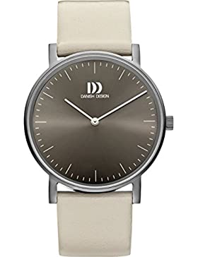 Danish Design Damen-Armbanduhr Analog Leder Grau DZ120474