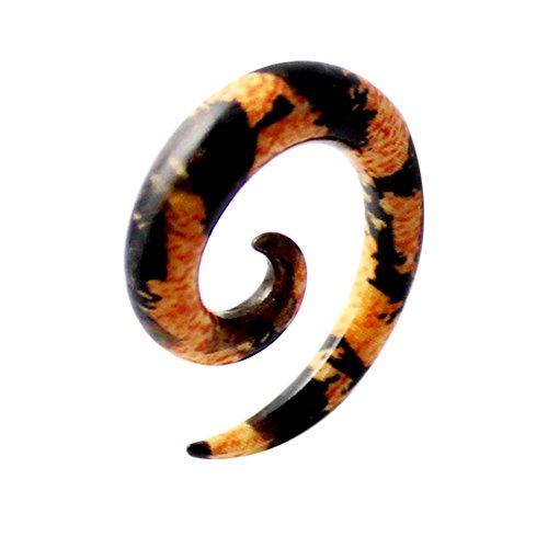 4MM bunt Geparden Muster UV Acryl Spirale verjüngt sich Gauge Ohrstecker Piercing (Verjüngt 4 Gauge)