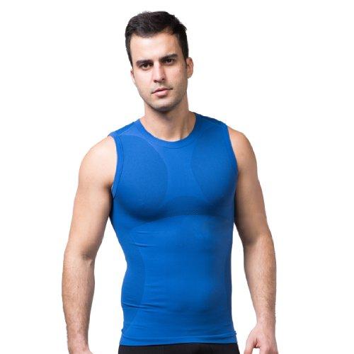 ZEROBODYS Maglietta senza Maniche Uomo compression funzionale maglia Cool-asciutto SS-M05 Blu (S)
