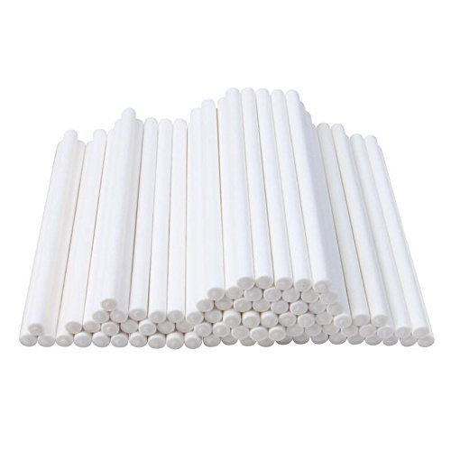Haobase 100 Stück Kuchen Pop Sticks Lollipop Papier Sticks Weiß