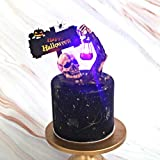 Patgoal Halloween Cake Toppers with LED Light Decorative Sign for Holiday Halloween Party Hand Cake Decorations Supplies