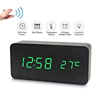 Goolsky Electronic LED Digital Wooden Alarm Clock Time/Temperature/Date Display Desktop Clock 3 Levels Brightness Voice Control USB Charge or Battery Supply - Black