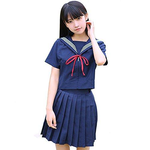 Olanstar Women's Japanese Schoolgirl Cosplay Sailor Suit Costume Set Anime JK Uniform Navy Blue