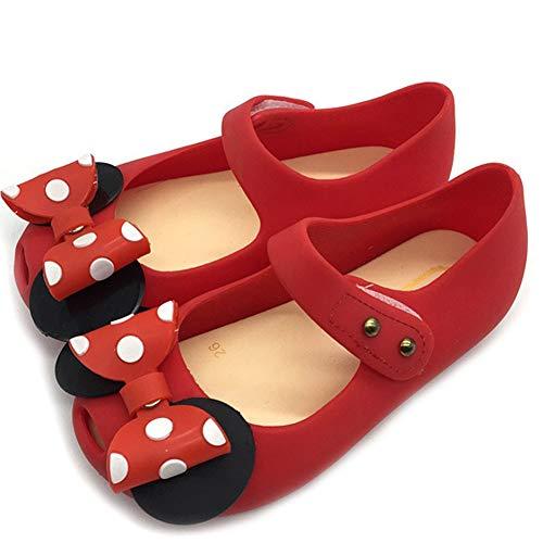 Mädchen Minnie Mouse Schuhe Tie Dot Bow Princess Sandalen Jelly Schuhe Weihnachten Geburtstagsgeschenk für Kleinkind/Little Kid (Wohnungen Schuhe Halloween)