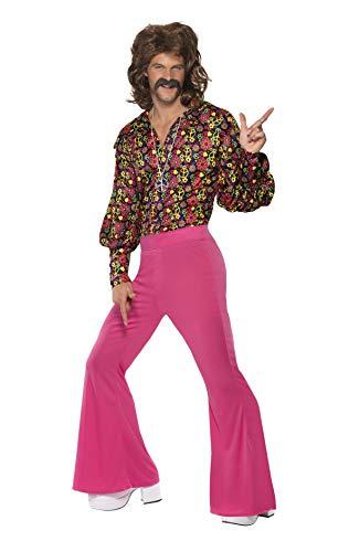 Smiffys, Herren 60er CND Kostüm, Oberteil und Hose, Größe: L, (Pink Fancy Dress Kostüme Ideen)