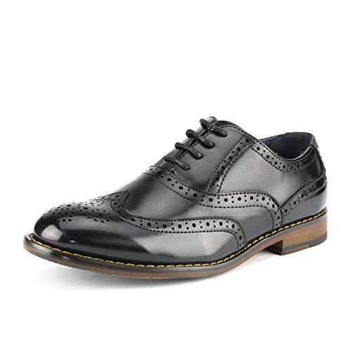 Bruno Marc Prince_K_2 Zapatos de Cordones Vestir Oxfords Clásicos para Niño Negro 26 EU/9 US Toddler...