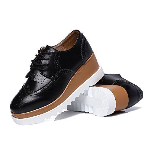 JRenok Chaussures Femme de Ville Brogues Derbies Baskets Lacets Casuel Mocassins Compensé à Haute Talon 6.5 CM 35-41 Noir