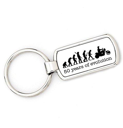 Price comparison product image brandevo 50th BIRTHDAY - MOTORBIKE - Mans Evolution Keyring Ape to Biker key ring ideal gift present