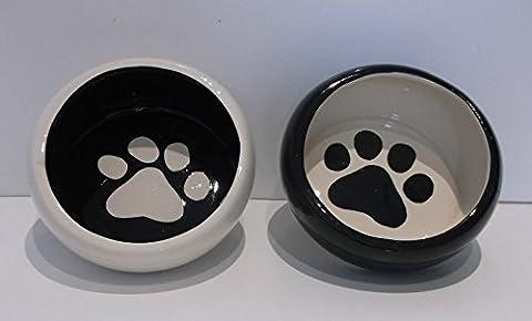 2 x Ceramic Dog Kitten Food Feeding Bowls Dog Cat New Shaped PAW Design