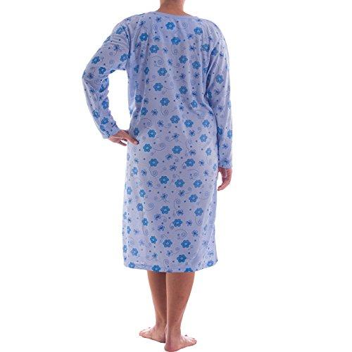 Romesa chemise de nuit avec pois et fleurs impression, broderie de qualité motif fleurs Bleu - Bleu