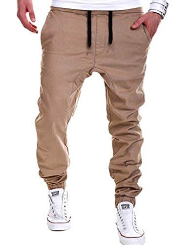 Junshan chino hose herren outdoor locker jogger pants wanderhose mit Gummilitze (khaki, M) (Hosen Polyester-aktion)