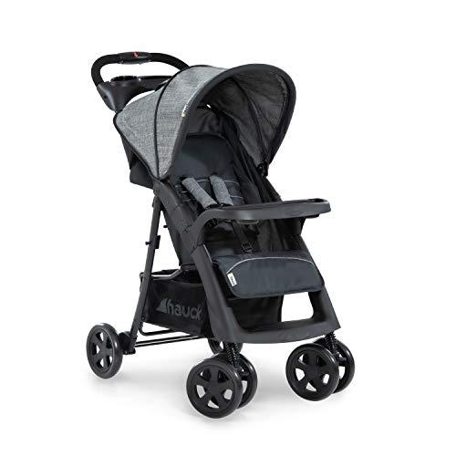 Hauck Shopper Neo II Buggy bis 25 kg mit Liegefunktion ab Geburt, klein zusammenfaltbar, Einhand-Faltmechanismus, leicht, 2 Getränkehalter, großer Korb, grey charcoal (grau)