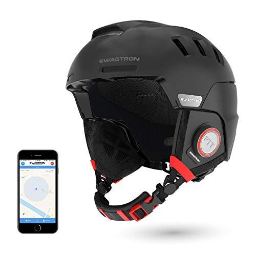 SWAGTRON Skihelme Rs1 mit Intercom, Snowboardhelm Wireless Bluetooth Headset Anrufe bearbeiten Hands Free ausgestattet SOS-Alert (Schwarz)