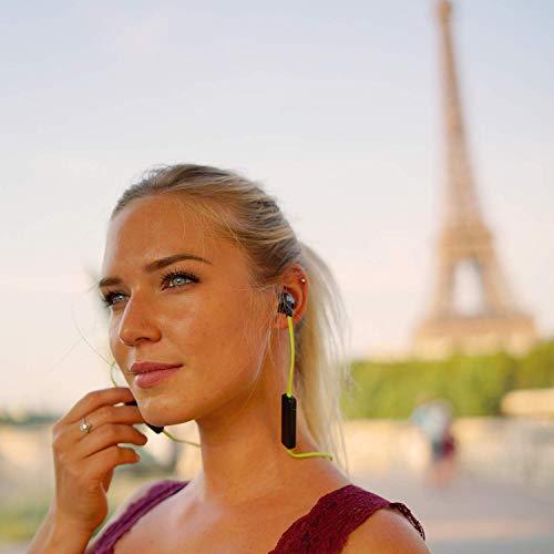 KLIM Pulse Bluetooth 4.1 In-Ear Kopfhörer 2019 Version Kabellose Kopfhörer – Geräuschreduzierung – Perfekt für Sport, Musik, Anrufe, Gaming – Magnetisch Memory Schaum Ohrstöpsel Grün - 7