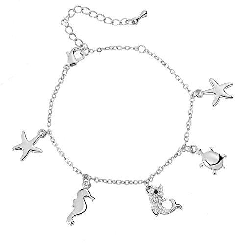 Ouran Armband für Frauen, Fußkettchen, Armband, Charm Anhänger, Mädchen, Knöchel, Fuß, Kette, Gold, aus Silber mit Kristall Ciondolo Degli Animali