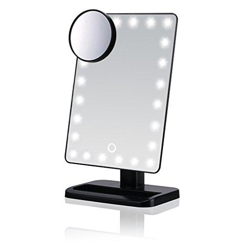 Yuepin Miroir de Maquillage, Haute définition clarté écran Tactile dimming 20 LED miroirs portatifs de vanité avec des miroirs grossissants Amovibles 10 x, y Compris Les Piles AA (Noir)