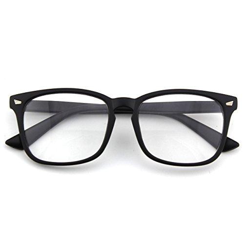 CN92 Klassische Nerdbrille rund Keyhole 40er 50er Jahre Pantobrille Vintage Look clear lens, A Matte Schwarz, 53