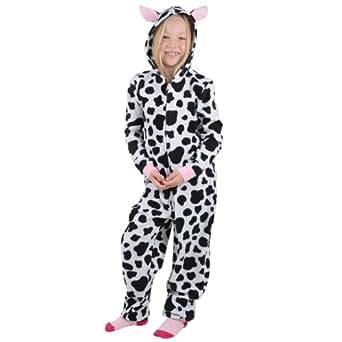 Girls Cow Print Hooded Fleece All In One Pyjamas PJs Sleepsuit Onesie 4-5 Years