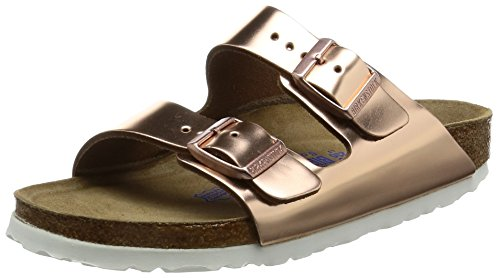 Birkenstock Classic Arizona Leder Softfootbed, Damen Pantoletten, Braun (Metallic Copper), 39 EU
