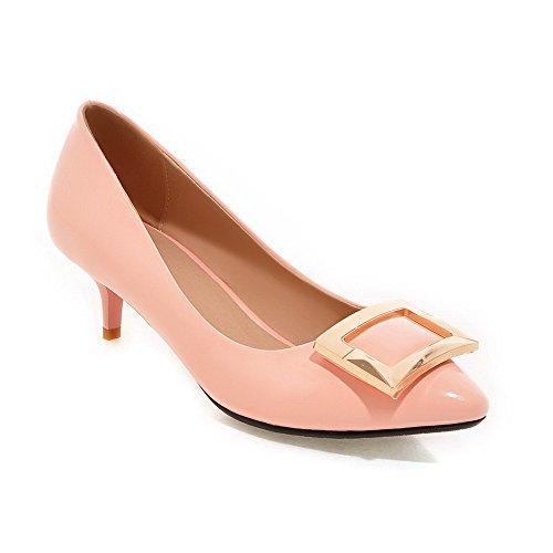 AllhqFashion Femme Tire à Talon Correct Pointu Pu Cuir Mosaïque Chaussures Légeres Rose