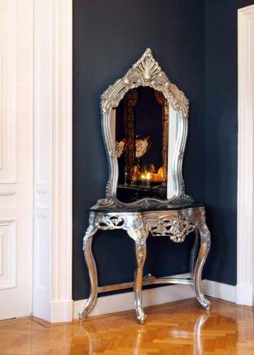 Barock Spiegelkonsole Silber - Ludwig XIV Rokoko Jugendstil Wohnung Wohnen Edel