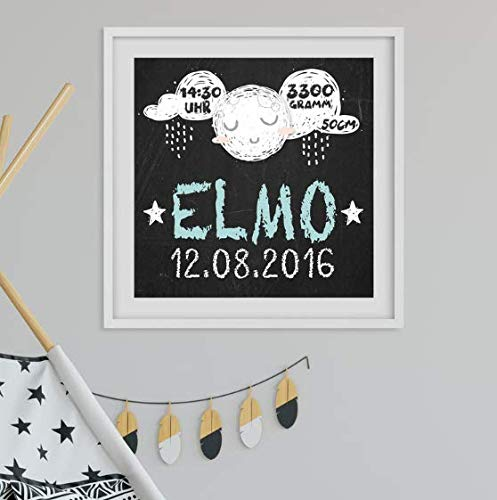 Geburtsdaten Wandbild Black Edition Elmo