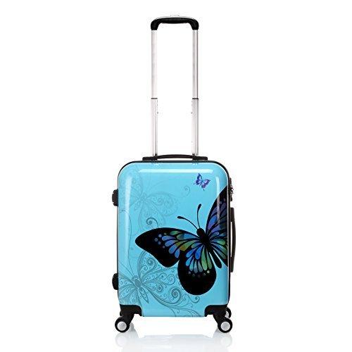 Anmas Box 20' Blau Schmetterling STÜCK Hartschale 4 Wheels Koffer Wagen Gepäck-Set