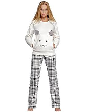 936ced2652ce Sensis–Elegante Morbido Soft Pyjama pigiama tuta da casa con ricamo  spettacolare e lunga pantaloni