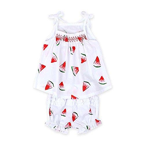 Oyedens Baby Kleidung Set Jungen Mädchen Cartoon Print, Wassermelone Muster Bogenschlinge Mädchen Shorts + Sommerkleider Mädchen Babykleidung Mädchen 0-6 Monate