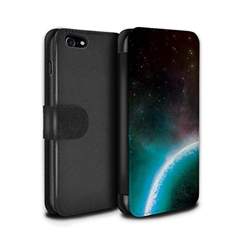 Stuff4 Coque/Etui/Housse Cuir PU Case/Cover pour Apple iPhone 8 / Planète Bleue Design / Cosmos Collection Planète Bleue