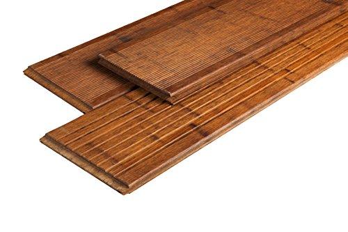 Woodstore BAMDR202005.728 Lot de 3 piquets de terrasse en bambou brut Grand format Café 20 x 200 x 2400 mm