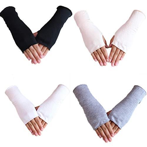 4 Paires Gants sans Doigts Unisexes Mitaines Demi Doigt Gants Poignet Longueur Trou de Pouce Gants de Conduite Anti-Soleil Anti-UV pour Hommes Femmes (Noir+Blanc+Gris+Chair)