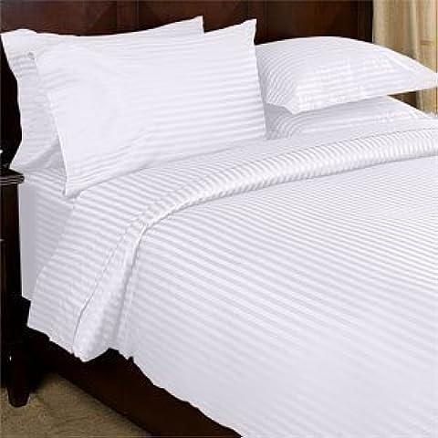 Wonder Oferta Juego de 600hilos Hoja Set UK Super King 100% algodón orgánico de rayas de color blanco