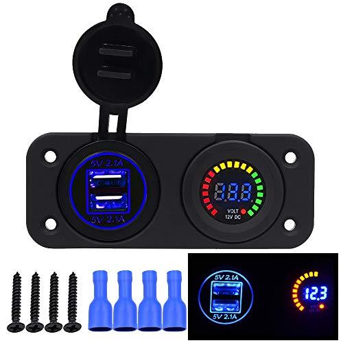 Samoleus Moto Auto 12V-24V 4.2A Dual USB Caricabatterie Adattatore con LED Voltmetro Portabile Impermeabile da Auto (2 IN 1 USB Caricatore)