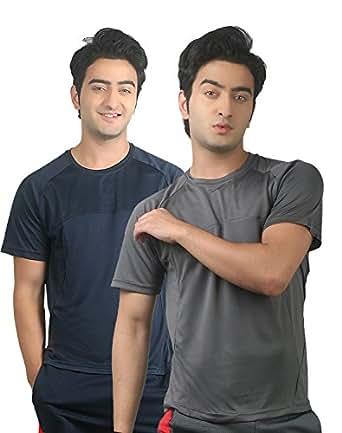 Nitrite Men's Synthetic Plain T-Shirt-Grey,Darkgrey-X-Large