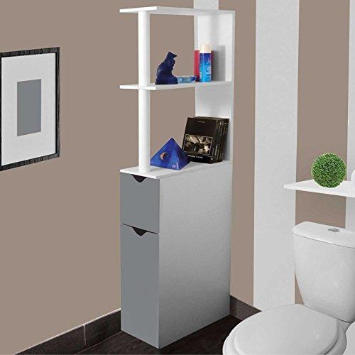ProBache - Meuble WC étagère bois gain de place pour toilette 2 portes grises